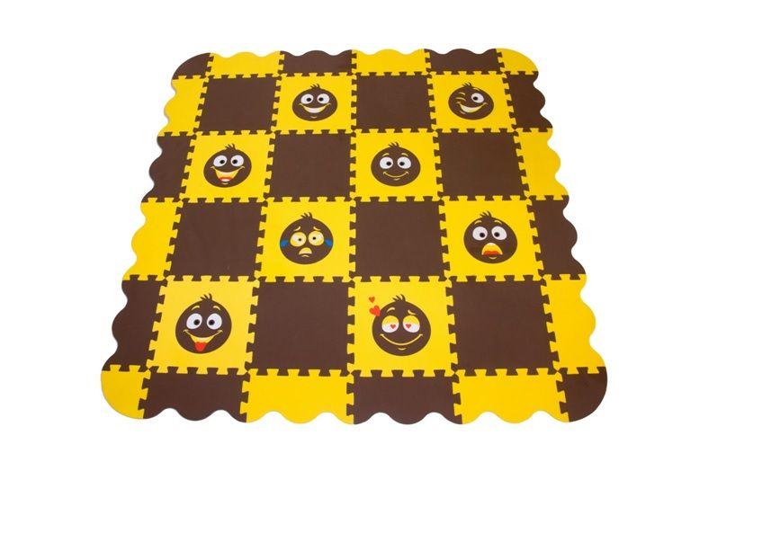 Игровой коврик пазл детский «СМАЙЛИКИ» (коричнево-желтый)