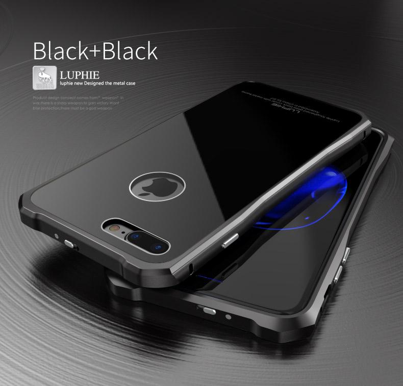 Металлический чехол-накладка LUPHIE для iPhone7 TOUGHEND GLASS BACK + METAL FRAME