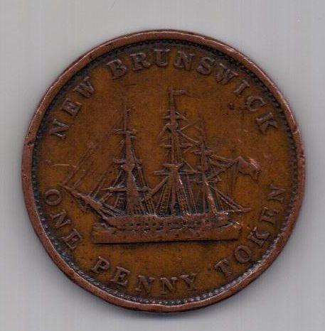 1 пенни 1843 г. Нью Брансуик. Канада. Великобритания