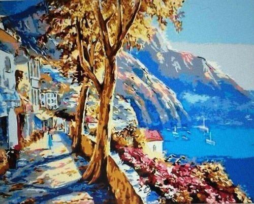 Роспись по холсту Лазурное море и набережная 40х50см