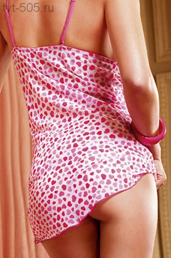Сорочка с трусиками-стрингами. Цвет белый с розовым, арт.BL085