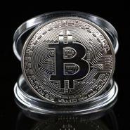 Монета Bitcoin, Биткоин криптовалюта - серебряная в капсуле