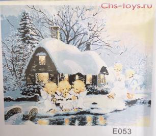 Картина по номерам Зимний домик E053