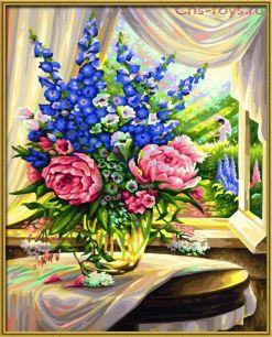 Картина по номерам Цветы у окна E012