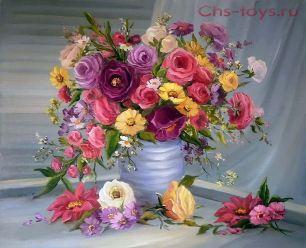Картина по номерам Разноцветные розы Y0096