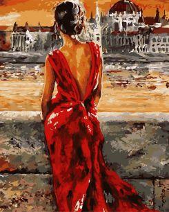 Картина по номерам Дама на набережной E036