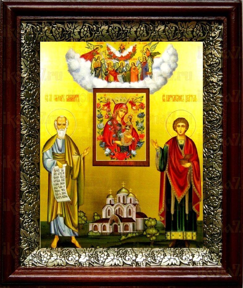 Симон Кананит и Пантелеймон Целитель (19х22), темный киот