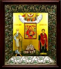 Симон Кананит и Пантелеймон Целитель (21х24), киот со стразами