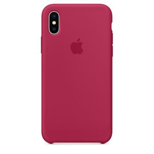 Silicone Case для iPhone X/Xs/XsMAX (красная роза)