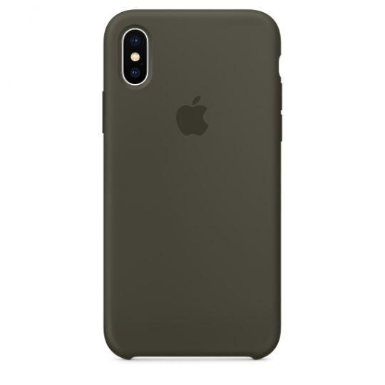 Silicone Case для iPhone X/Xs/XsMAX (тёмно-оливковый)