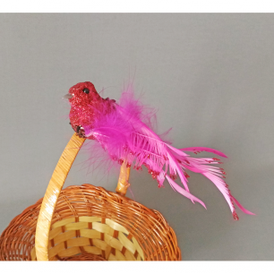 Птичка малиновая (птичка-декор) блестки