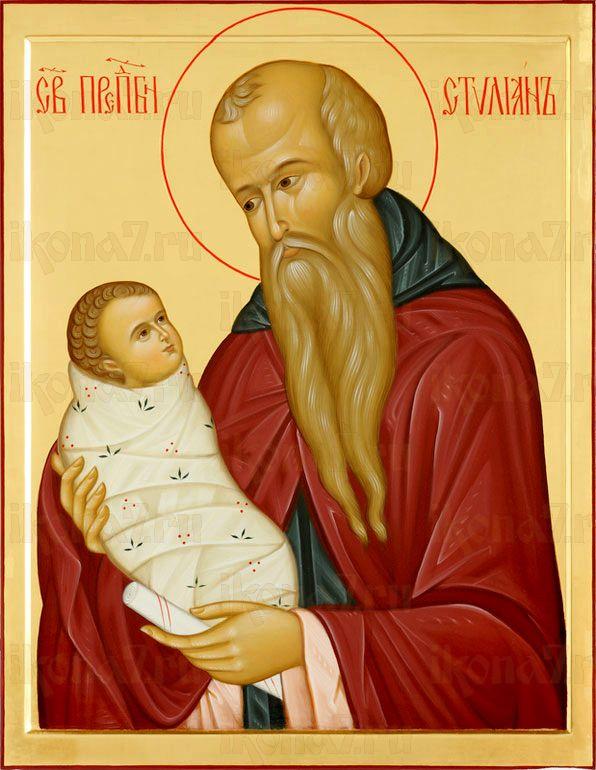 Стилиан Пафлагонский (рукописная икона)