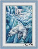 """Схема для вышивания крестиком """"Белые медведи""""."""
