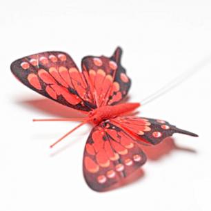 8см Бабочка декор красный №2 (арт.2395-2)