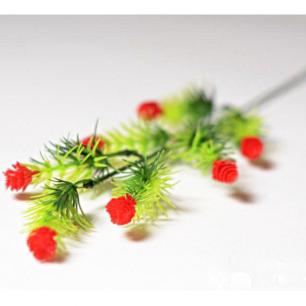 Ветка с цветами хмеля 7 голов (арт.1083-4) красный