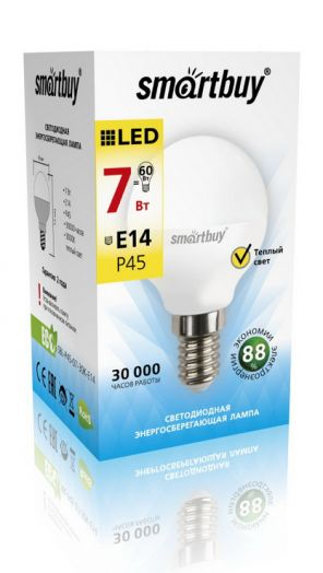 Светодиодная (LED) Лампа Smartbuy-P45-07W/3000/E14