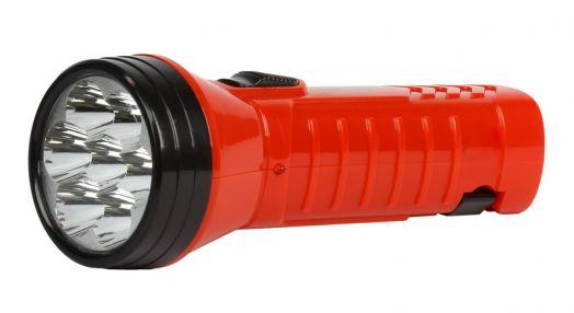Аккумуляторный светодиодный фонарь 7 LED с прямой зарядкой Smartbuy (красный)