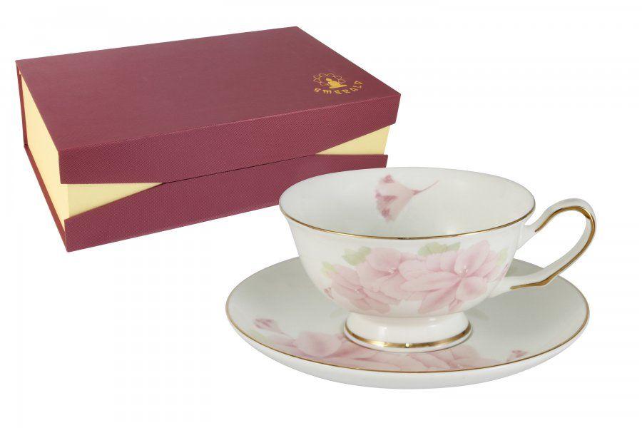 "Чайный набор на 1 персоу ""Розовые цветы"", 2 пр., 0.2 л"