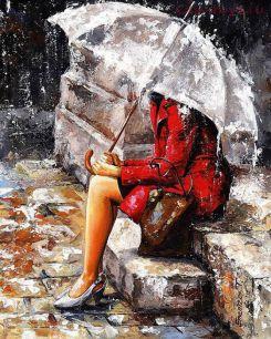Картина по номерам Под зонтом E435