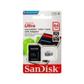 Карта памяти Sandisk Ultra MicroSDXC 64Gb cl.10 до 80MB/s UHS
