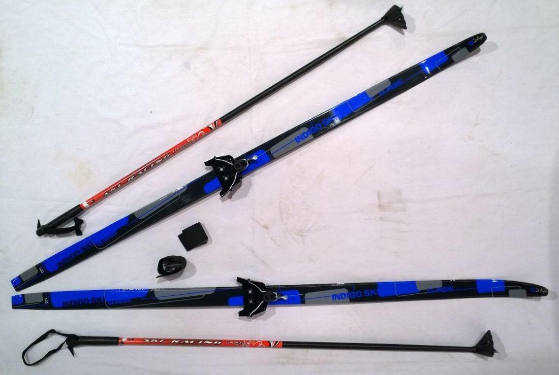 Лыжный комплект полупластик INDIGO CLASSIC с палками 1,5м