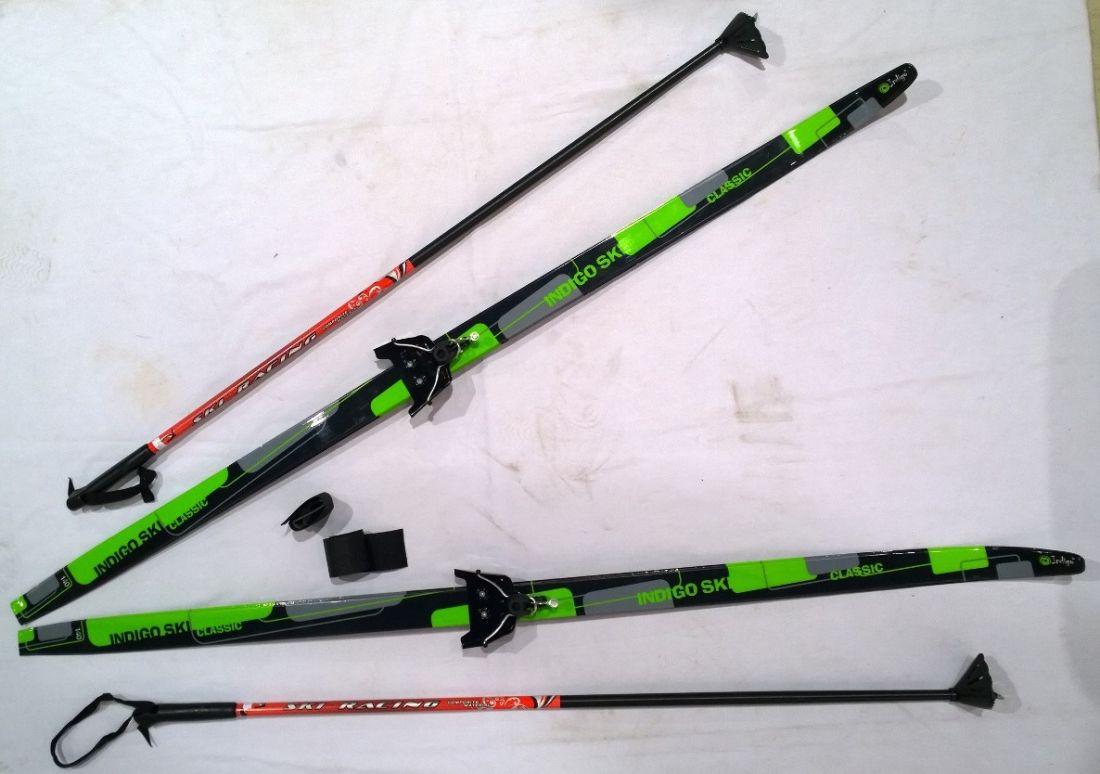 Лыжный комплект полупластик INDIGO CLASSIC с палками 1,7м