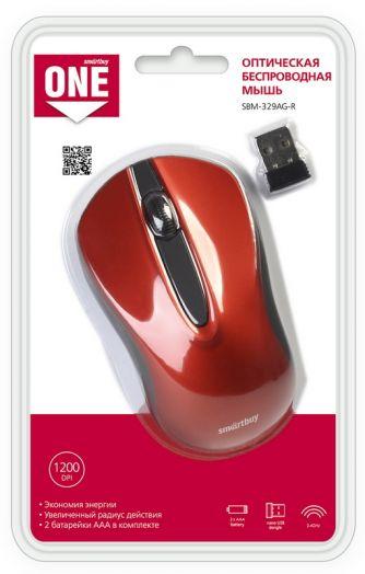 Мышь беспроводная Smartbuy ONE 329AG-R (красная)