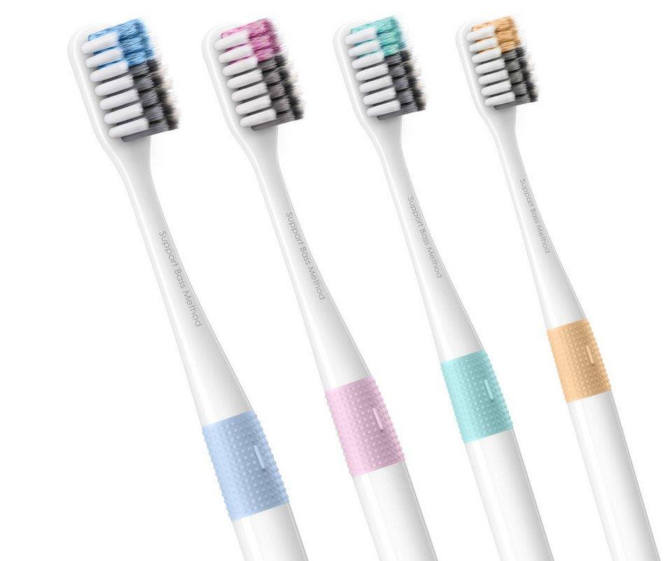 Набор зубных щеток Xiaomi DOCTOR·B Colors (Комплект 4 шт+ Футляр)