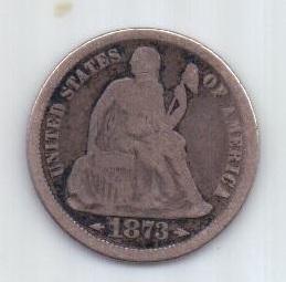 1 дайм 1873 г. США