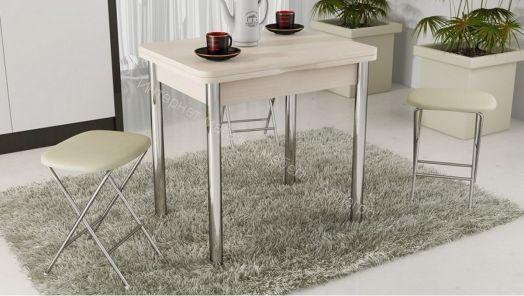 Стол обеденный с хромированными ножками «Лион» Дуб белфорд