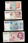 63000 лир банкноты Италия 4 штуки 1000,2000,10000 и 50000 лир 1984-1992 год