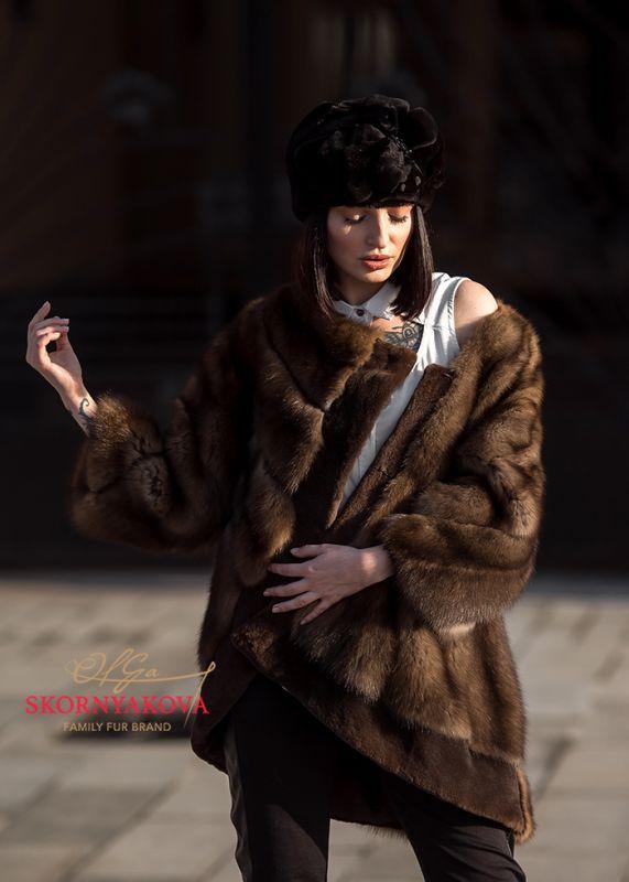 Куртка из соболя линия couture 3 D раскладка. Натуральный цвет