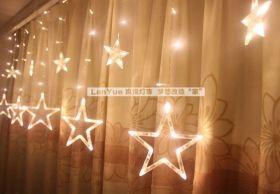 Гирлянда бахрома Звезды LED теплый белый 2,5 метра
