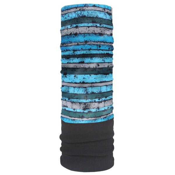 Мультишарф с флисом с синими полосками
