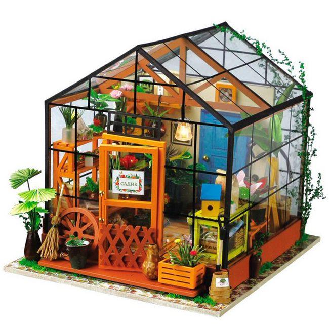 Интерьерный конструктор миниатюра Цветочный домик