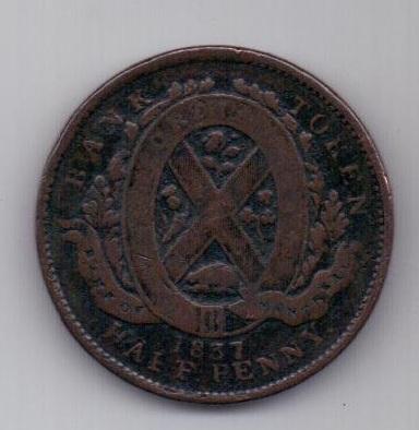 1/2 пенни 1837 г. Канада. Великобритания