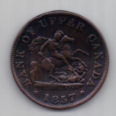 1/2 пенни 1857 г. Канада. Великобритания
