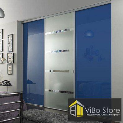 Шкаф купе 3х дверный со стеклянными дверями