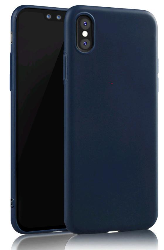 Тонкий силиконовый чехол матовый для iPhone X 10 (Синий)