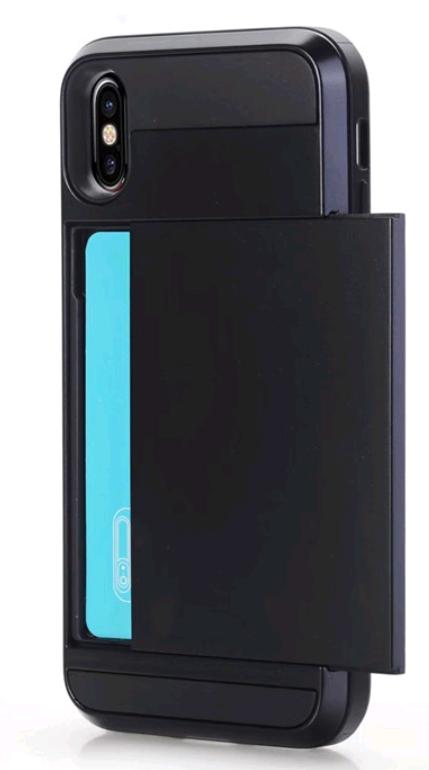 Чехол armor cs для iphone X 10 с отделом для кредиток (черный)