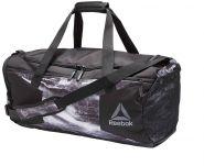Сумка спортивная черно-серая Reebok Combat Grip Bag M BK2484