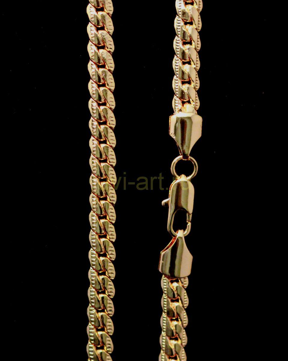 Позолоченная цепочка / браслет с гравировкой, 7 мм
