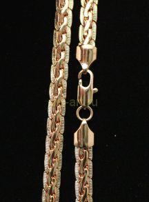 Позолоченная цепочка или браслет с элегантным плетением с гравировкой 7 мм (арт. 250112)