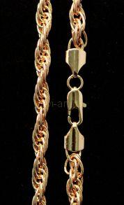 Позолоченная крученая цепочка / браслет, 7 мм (арт. 250122)