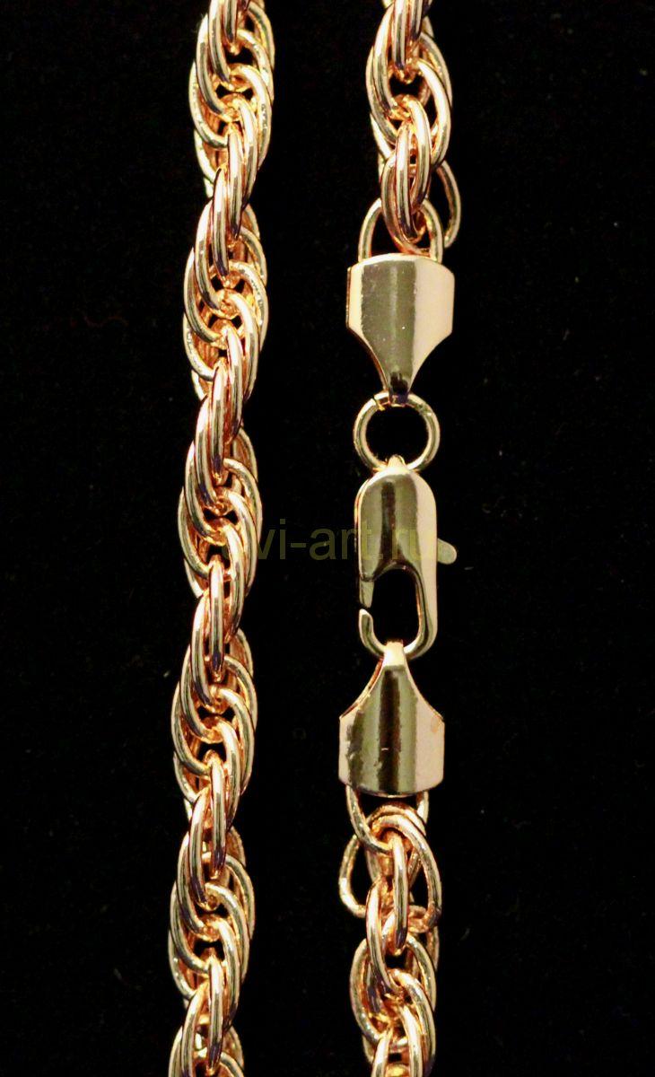 Позолоченная крученая цепочка / браслет, 7 мм