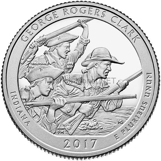 25 центов США 2017, 40-й парк Джордж Роджерс Кларк, George Rogers Clark