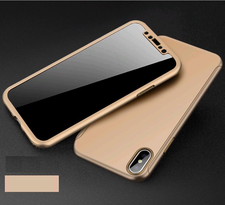 Чехол Paky 360 градусов защиты для iPhone X/10 + стекло на экран (золотой)