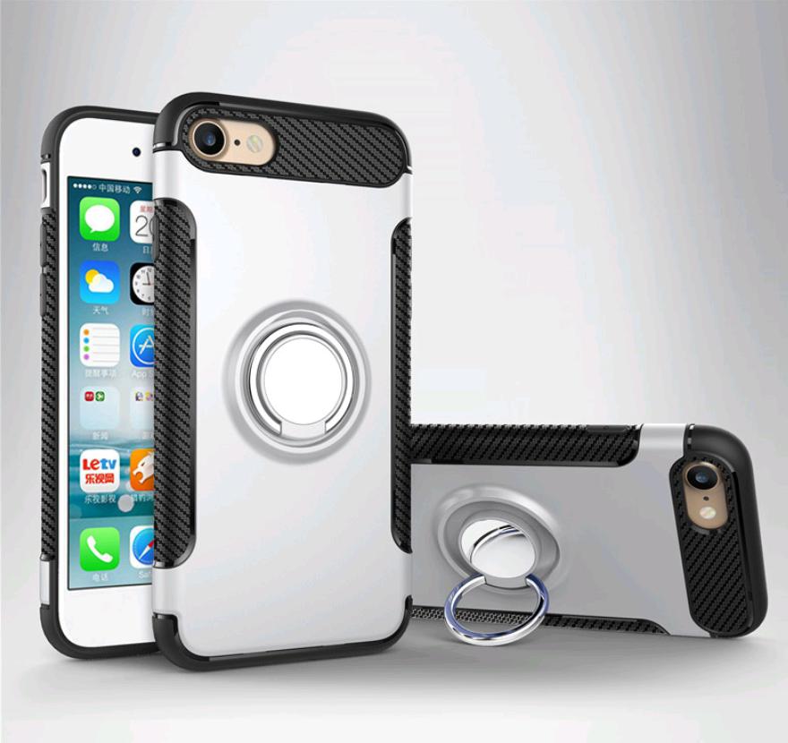 Чехол со встроенным магнитом и кольцом  для iPhone 7/8 (Серебро)