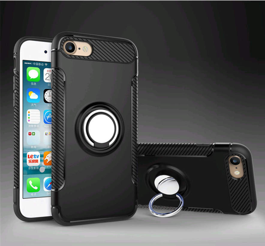 Чехол со встроенным магнитом и кольцом  для iPhone 7/8 (Черный)
