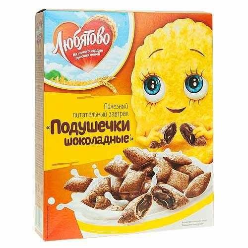 Подушечки с шоколадной начинкой Любятово 250гр
